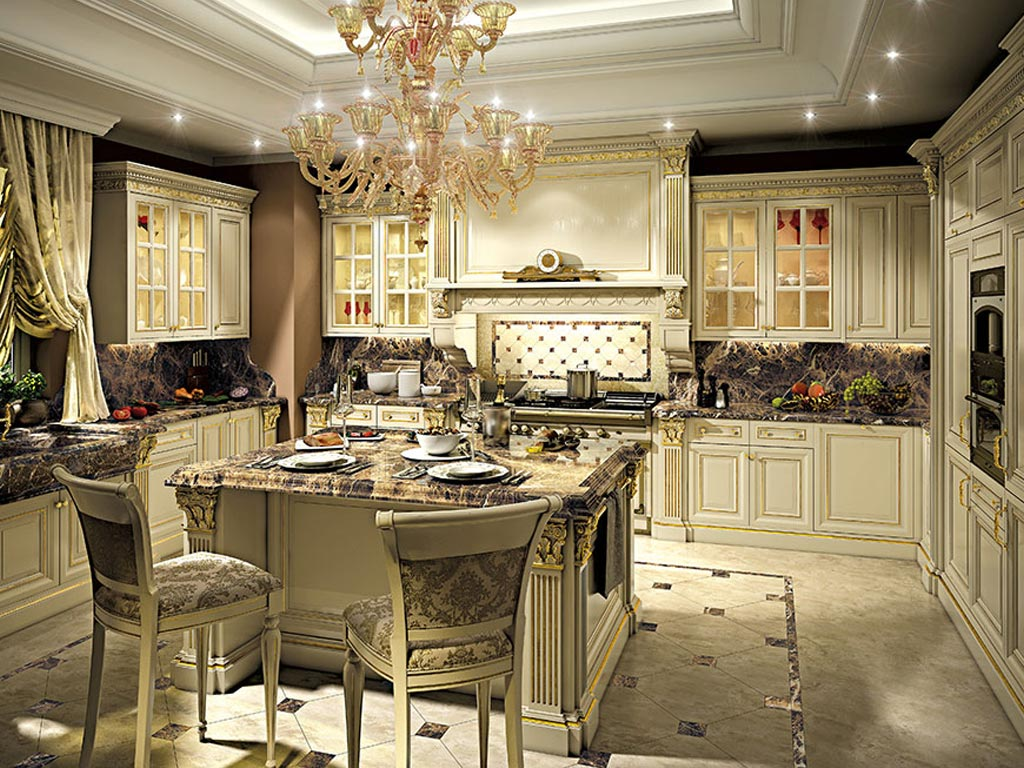 Dyana style cucine classiche luxury for Interni di ville classiche